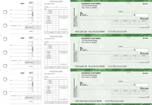 Green Marble Payroll Invoice Business Checks | BU3-7GMA01-PIN