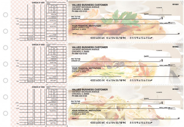 Italian Cuisine Multi Purpose Designer Business Checks  | BU3-CDS05-DEP
