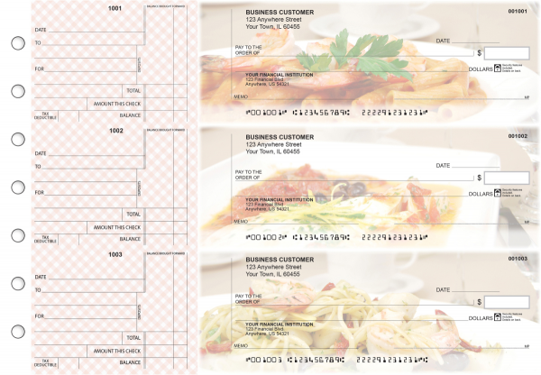 Italian Cuisine Standard Counter Signature Business Checks | BU3-CDS05-SCS