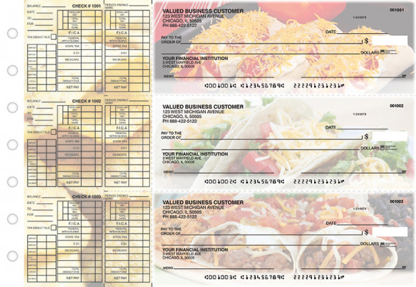 Mexican Cuisine Payroll Designer Business Checks  | BU3-CDS07-PAY