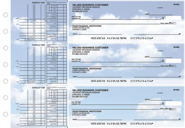 Clouds Multi Purpose Designer Business Checks  | BU3-CDS21-DEP
