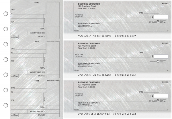 Brushed Metal Standard Counter Signature Business Checks | BU3-CDS23-SCS