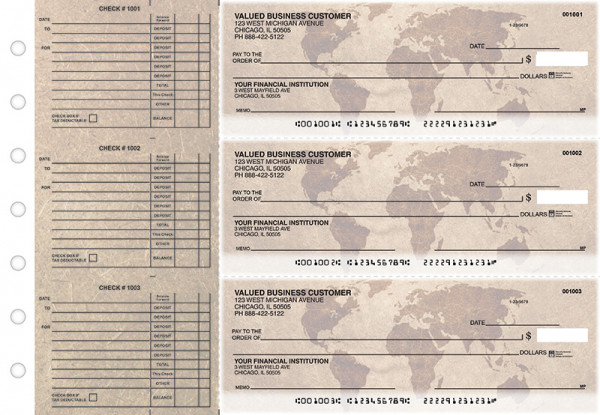 World Map Accounts Payable Designer Business Checks | BU3-CDS26-DED
