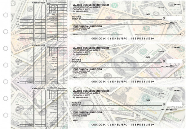 Money Multi Purpose Designer Business Checks  | BU3-CDS31-DEP