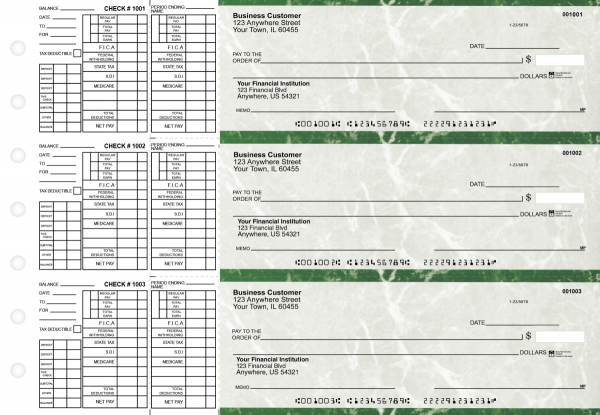 Green Marble Payroll Business Checks | BU3-GMA01-PAY