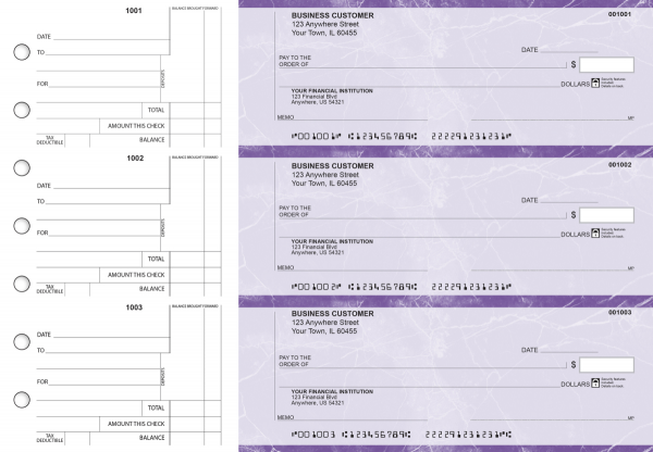Purple Marble Standard Counter Signature Business Checks | BU3-UMA01-SCS