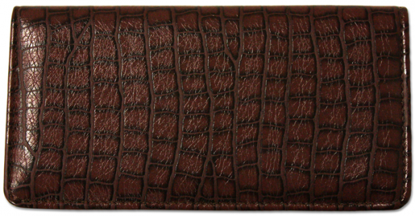 Reptile Brown Textured Leather Checkbook Cover | CLP-BRN07