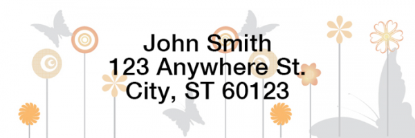 Butterflies Floating Rectangle Address Labels | LRGEO-22