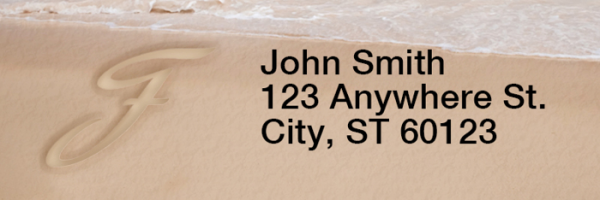 Sand Written Monogram 'F' Narrow Address Labels | LRRMONO-07F