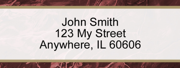 Burgundy Marble Narrow Address Labels | LRVAL-022