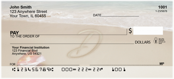 Sand Written Monogram 'D' Personal Checks | MONO-07D
