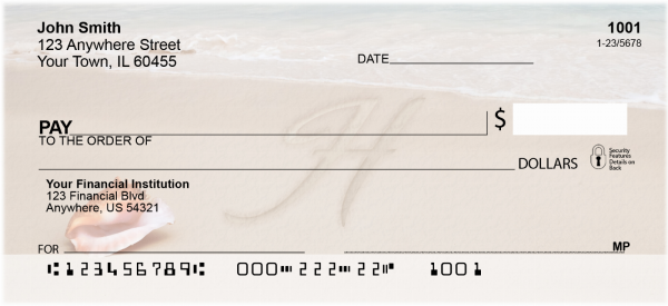 Sand Written Monogram 'H' Personal Checks | MONO-07H