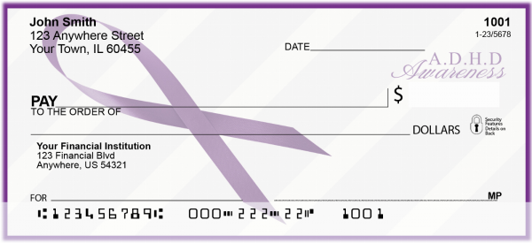 ADD Awareness Ribbon Personal Checks | RIB-04