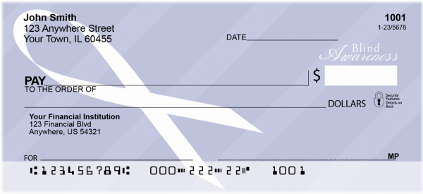 Blindness Awareness Ribbon Personal Checks | RIB-08