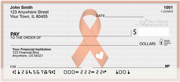 Heart Disease Awareness Ribbon Personal Checks | RIB-16